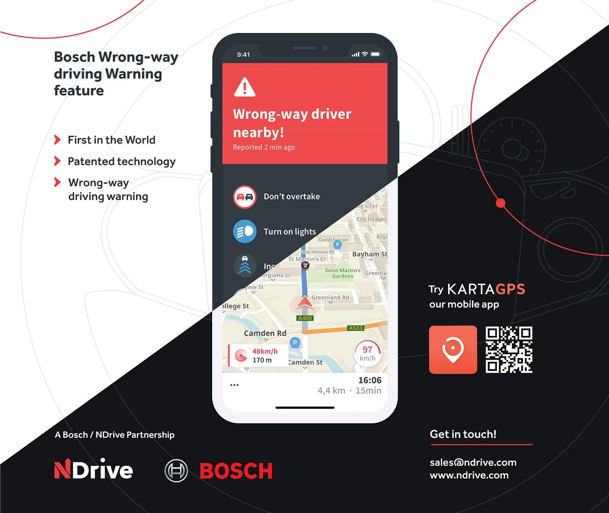 Navigáció integrált Wrong Way Driver funkcióval