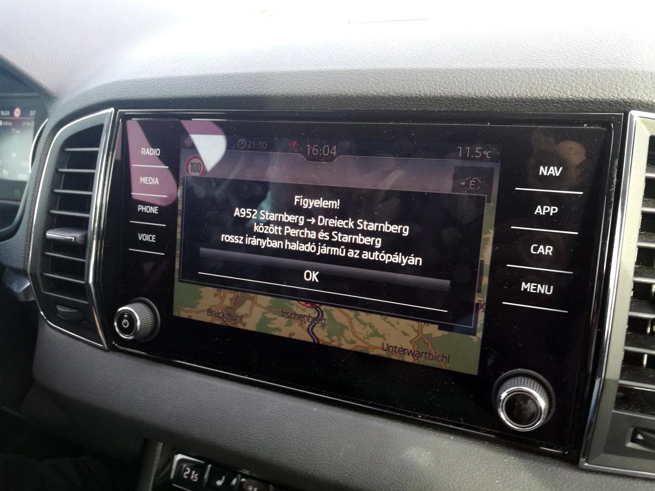 Skoda multimédia fejegység Wrong Way Driver figyelmeztetés