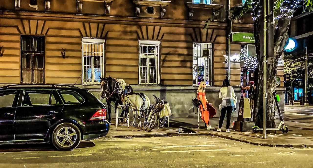 Ezt a képet hamarosan elfelejthetjük: a belvárosból nemhogy a lovak, de lassan az autók is teljesen eltűnnek (a fotó 2021 szeptemberében a kiállítás után néhány nappal készült Budapest belvárosában)