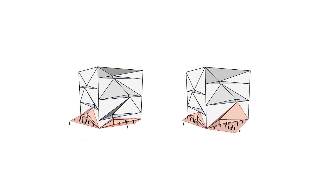 A futurisztikus kockaalakzat dupla üveghomlokzatot kapott
