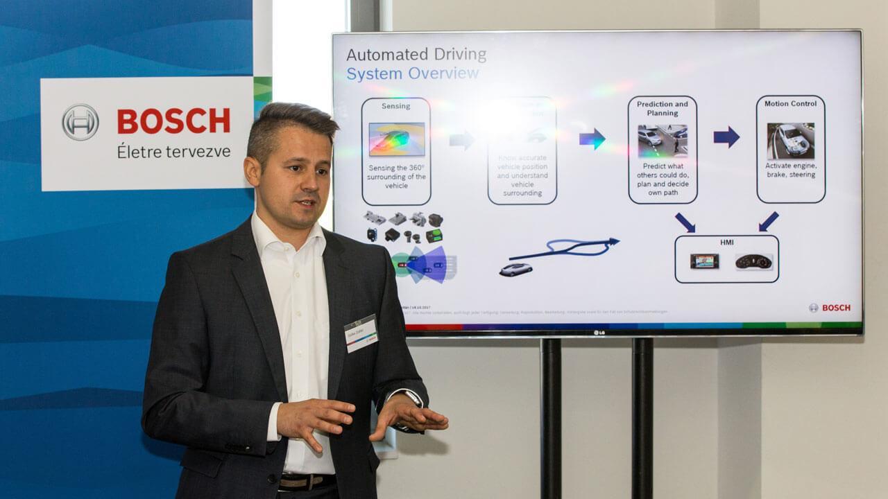 Szőke Zoltán az önvezető rendszerek kapcsán tart előadást a magyarországi Bosch csoport egyik bemutatóján