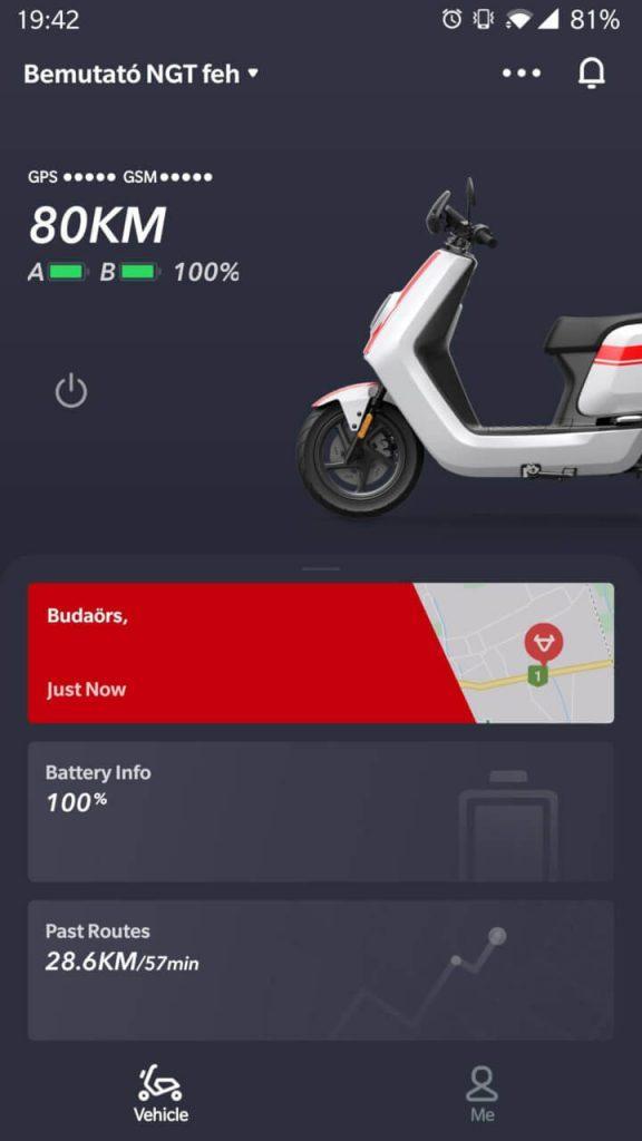 Az alkalmazás mindig perce kész, pontosan mutatja a töltöttséget és a járművel megtehető távolságot, valamint mindig látod az utolsó kommunikáció időpontját és helyét is